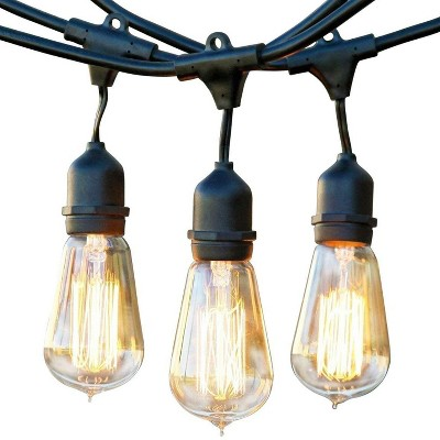 Brightech Ambience Vintage Outdoor String Lights with 15 Hanging Sockets & Edison Bulbs for Outside, Backyard, Cafe, Patio, or Porch, 48 Foot, Black