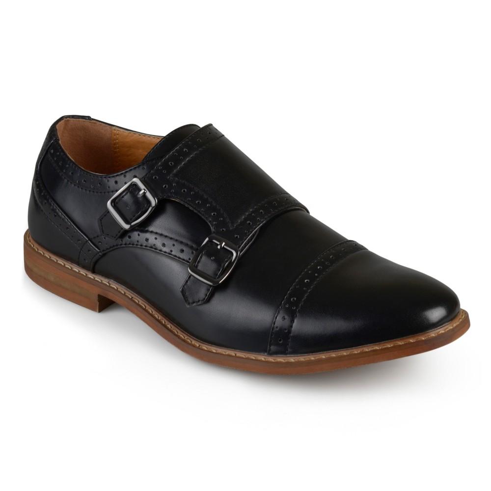 Men's Vance Co. Wayne Faux Leather Cap Toe Double Monk Strap Dress Shoes - Black 8
