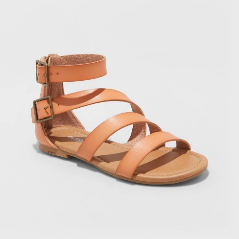 Girls' Leontine Asymmetrical Gladiator Sandals - Cat & Jack™ Tan - image 1 of 4