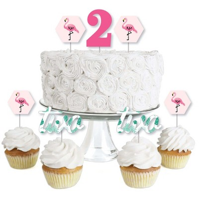 Big Dot of Happiness 2nd Birthday Pink Flamingo - Dessert Cupcake Toppers - Tropical Second Birthday Party Clear Treat Picks - Set of 24