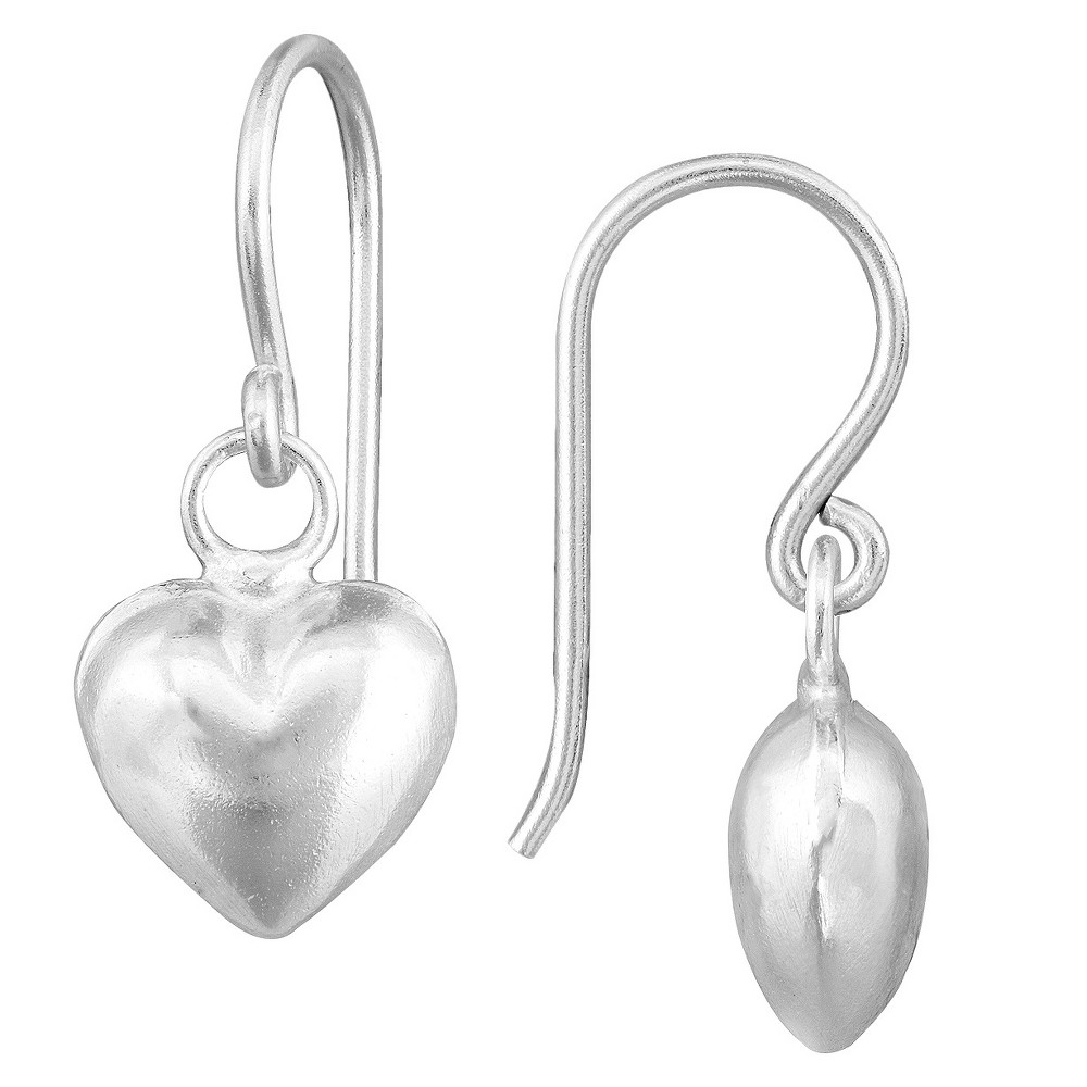 Sterling Silver Dangle Fish Hook Puffed Heart Earrings - Silver, Girl's