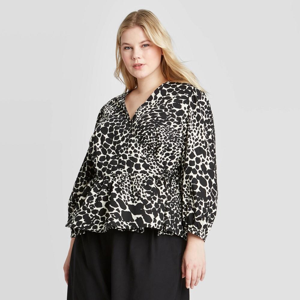Image of Women's Plus Size Leopard Print Long Sleeve Wrapped Top - Who What Wear Black 1X, Women's, Size: 1XL