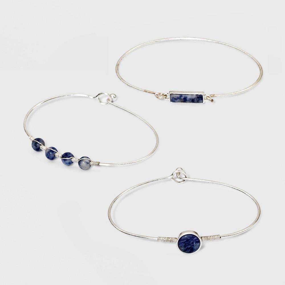 Semi Precious Sodalite Fashion Bracelet Set - Universal Thread Blue/Gold, Blue/Silver