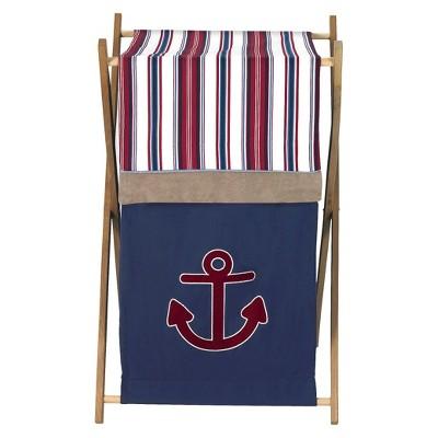 Sweet Jojo Designs Nautical Nights Laundry Hamper- Red-Blue-Camel-White