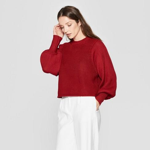 dcee32bb513653 Women s Long Raglan Sleeve Pullover Sweater - Prologue™ Red   Target
