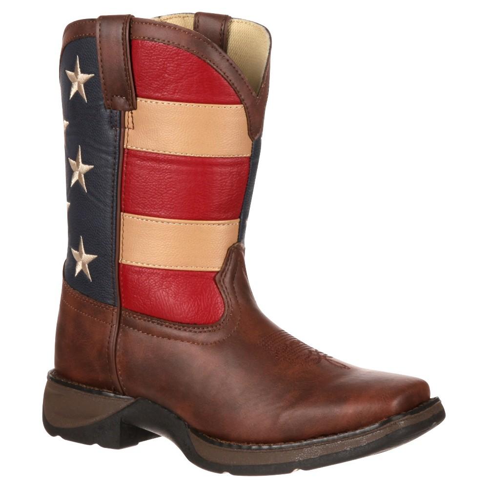 Kid's Durango Patriotic Lil' Durango Cowboy Boots - 12M, Kids Unisex, Size: 12, Silver