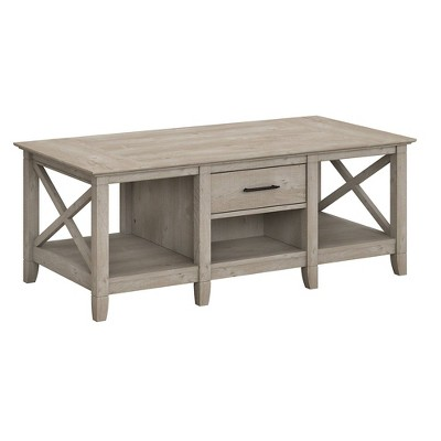 Key West Coffee Table with Storage Washed Gray - Bush Furniture