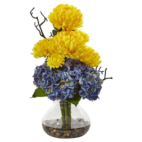 Hydrangea & Mum in Vase Yellow - Nearly Natural - image 1 of 1
