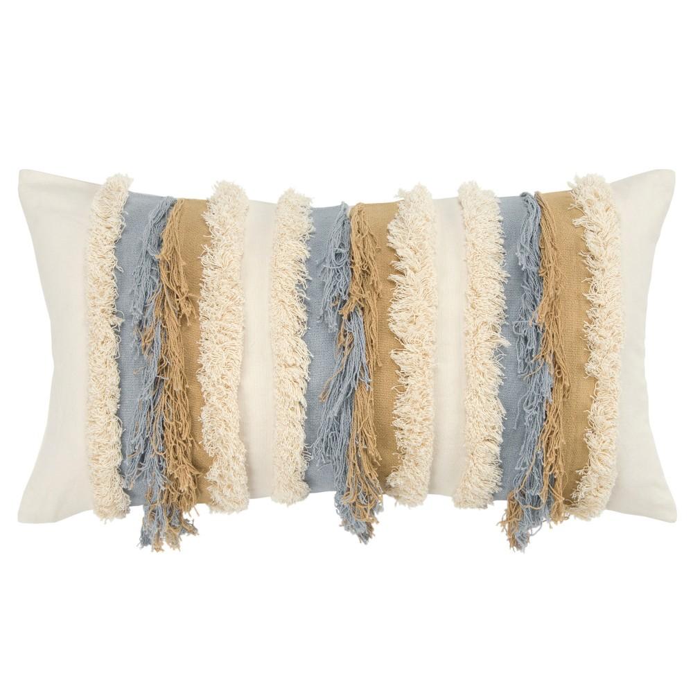Stripe Decorative Filled Oversize Lumbar Throw Pillow Yellow - Rizzy Home