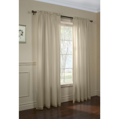 Commonwealth Home Fashions Thermavoile Rhapsody Lined Tailored Pole Top Curtain Panel in Mushroom Color