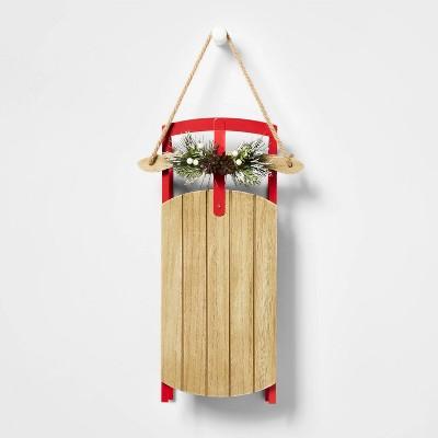 Hanging Wood Sled with Greenery Decor - Wondershop™