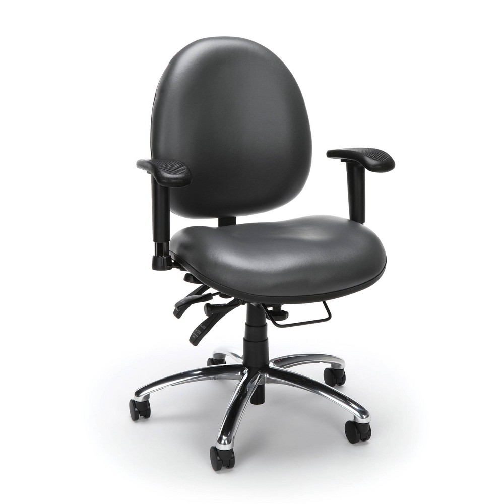 Image of 24 Hour Big and Tall Ergonomic Anti Bacterial Vinyl Computer Swivel Task Chair Charcoal - OFM