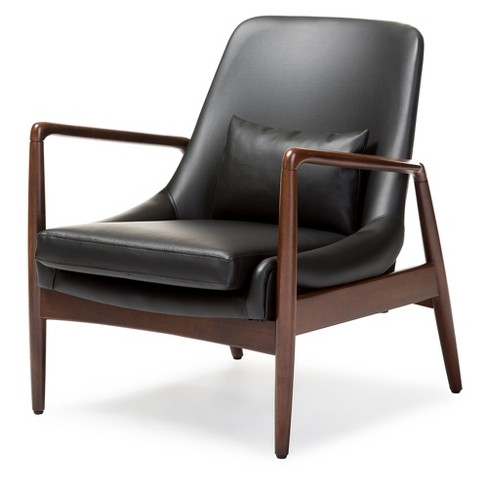Carter Mid Century Modern Retro Faux Leather Upholstered Leisure Accent Chair In Walnut Wood Frame Black Baxton Studio