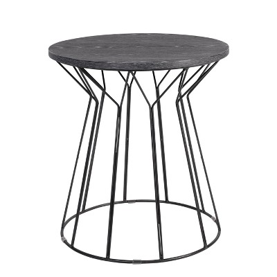 Fleur Side Table Noir Black - Adore Decor