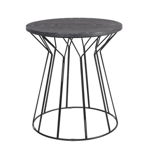 Fleur Side Table Noir Black - Adore Decor - image 1 of 4