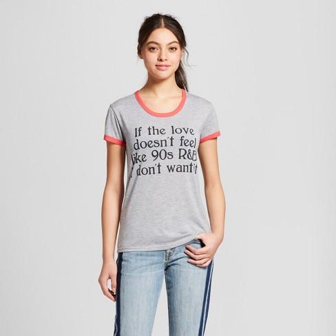 104b5341b703f Women s 90 s R B Love Short Sleeve Ringer T-Shirt (Juniors ) - Mighty Fine  Heather Gray
