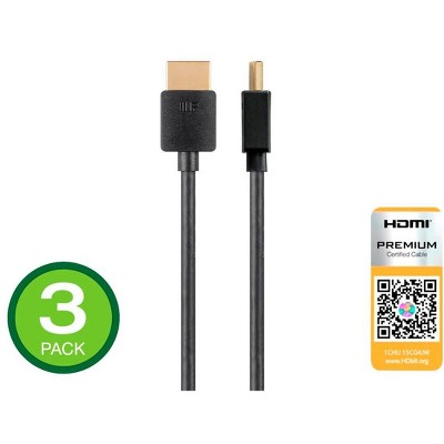 Monoprice High Speed HDMI Cable - 6 Feet - Black (3 Pack) Certified Premium, 4K@60Hz, HDR, 18Gbps, 34AWG, YUV 4:4:4 - Ultra Slim Series