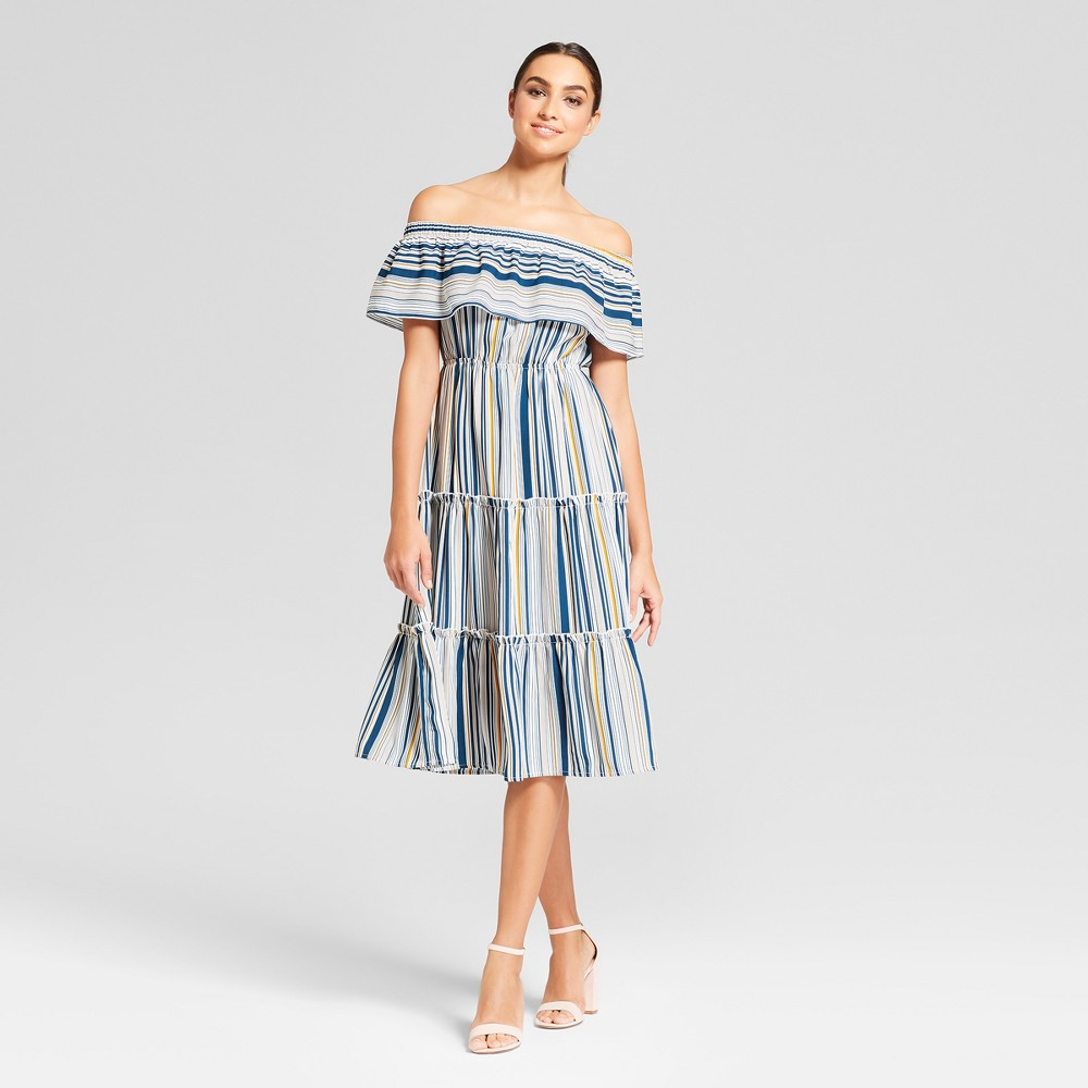 Women S Striped Off The Shoulder Tiered Maxi Dress Needlework White S