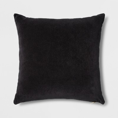 Velvet Square Throw Pillow With Exposed Zipper Black - Project 62™