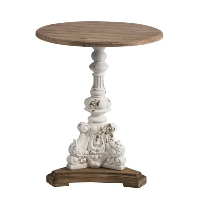 Round Side Table Antique White/Natural - A&B Home