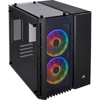"""Corsair Crystal 280X Computer Case - Black - Tempered Glass - 2 x 4.72"""" x Fan(s) Installed - Micro ATX Motherboard Supported - 6 x Fan(s) Supported"""