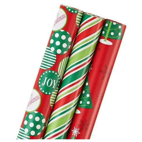 Red Trees and Stripes Christmas Holiday Gift Wrap - 3ct - image 1 of 4