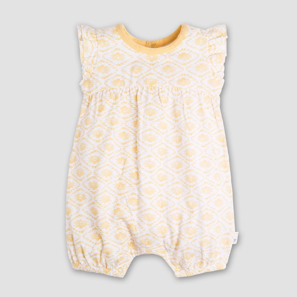 Burt's Bees Baby Girls' Organic Cotton Watercolor Southwest Bubble Romper - Yellow 12M, Yellow White