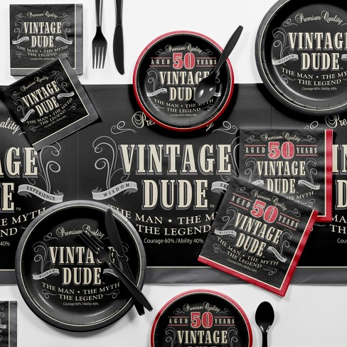 Vintage Dude 50th Birthday Party Supplies Kit