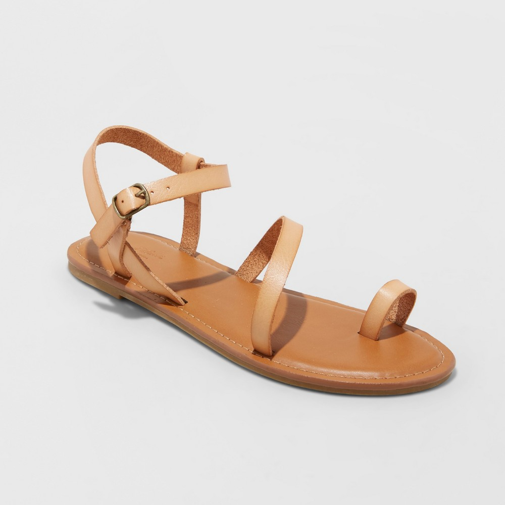 Women's Tera Naked Ankle Strappy Sandals - Universal Thread Tan 8