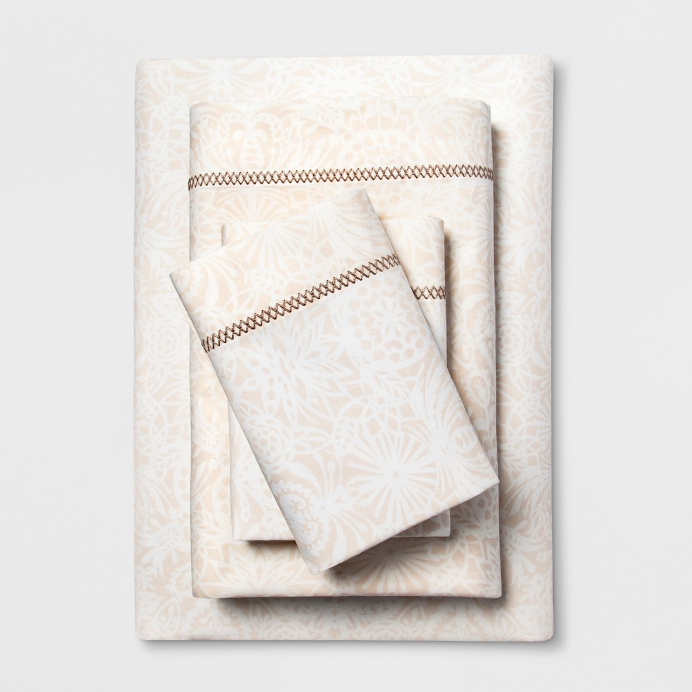 Cotton Percale Print Sheet Set (Full) Tan - Opalhouse