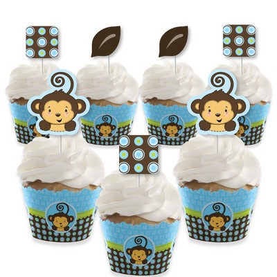 Big Dot of Happiness Blue Monkey Boy - Cupcake Decoration - Baby Shower or Birthday Party Cupcake Wrappers and Treat Picks Kit - Set of 24