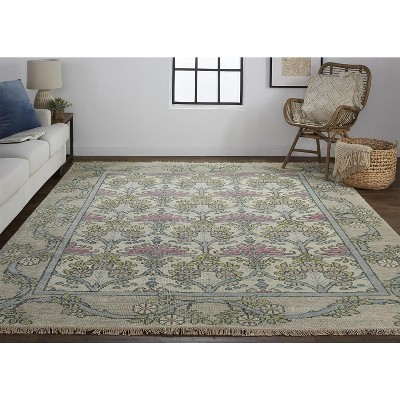 Feizy Beall Luxury Wool Rug, Arts and Crafts, Gray/Pink, 3ft-6in x 5ft-6in Accent Rug