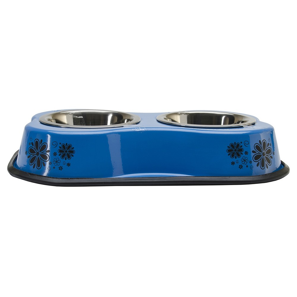 Buddy's Line Bone Shaped Flower Pattern Double Diner Stainless Steel Bowls - Blue (1pt) (3x15