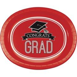 "Graduation School Spirit Red 10"" x 12"" Oval Platters - 8ct"