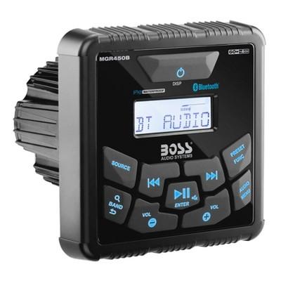 Boss MGR450B Square Style Weatherproof Bluetooth MP3 AM/FM Radio Stereo Boat Marine Audio Receiver Player w/ USB Port & NOAA Weather Band Tuner, Black