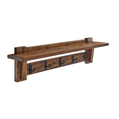 Durango Industrial Wood Coat Hook Entryway Shelf Dark Brown - Alaterre