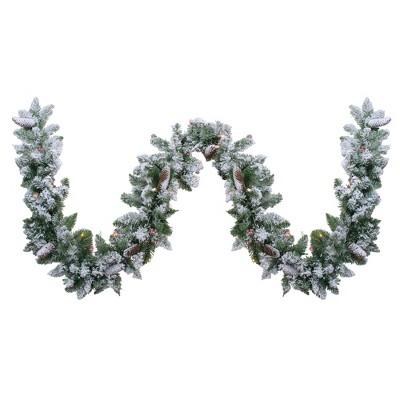 "Northlight 9' x 10"" Pre-Lit Flocked Pine Artificial Christmas Garland - Multi Color Lights"