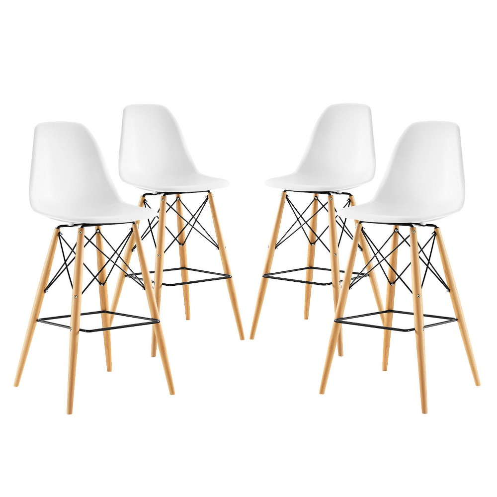 Pyramid Dining Side Bar Stool Set of 4 White - Modway