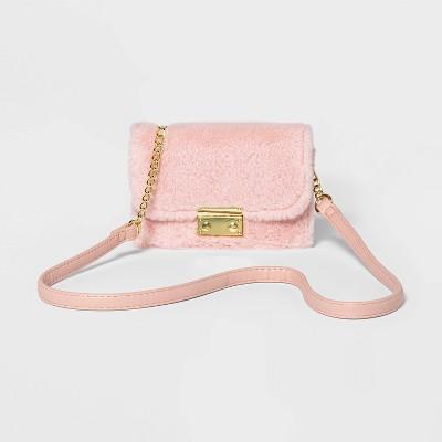 Girls' Faux Fur Turlock Crossbody Bag - art class™ Pink