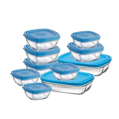 Duralex Lys 10 Piece Reusable Portable Baby Set Tempered Glass Bowl Storage Organizer Containers with Lids