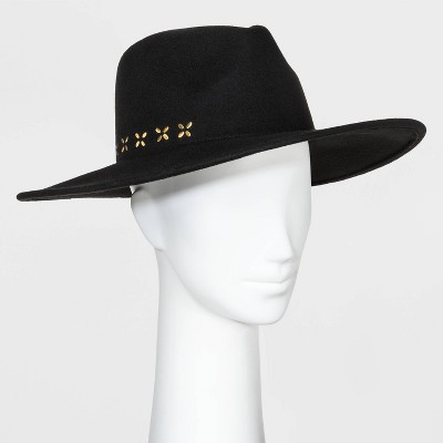 Women's Wide Brim Felt Fedora Hat - Universal Thread™ Black One Size