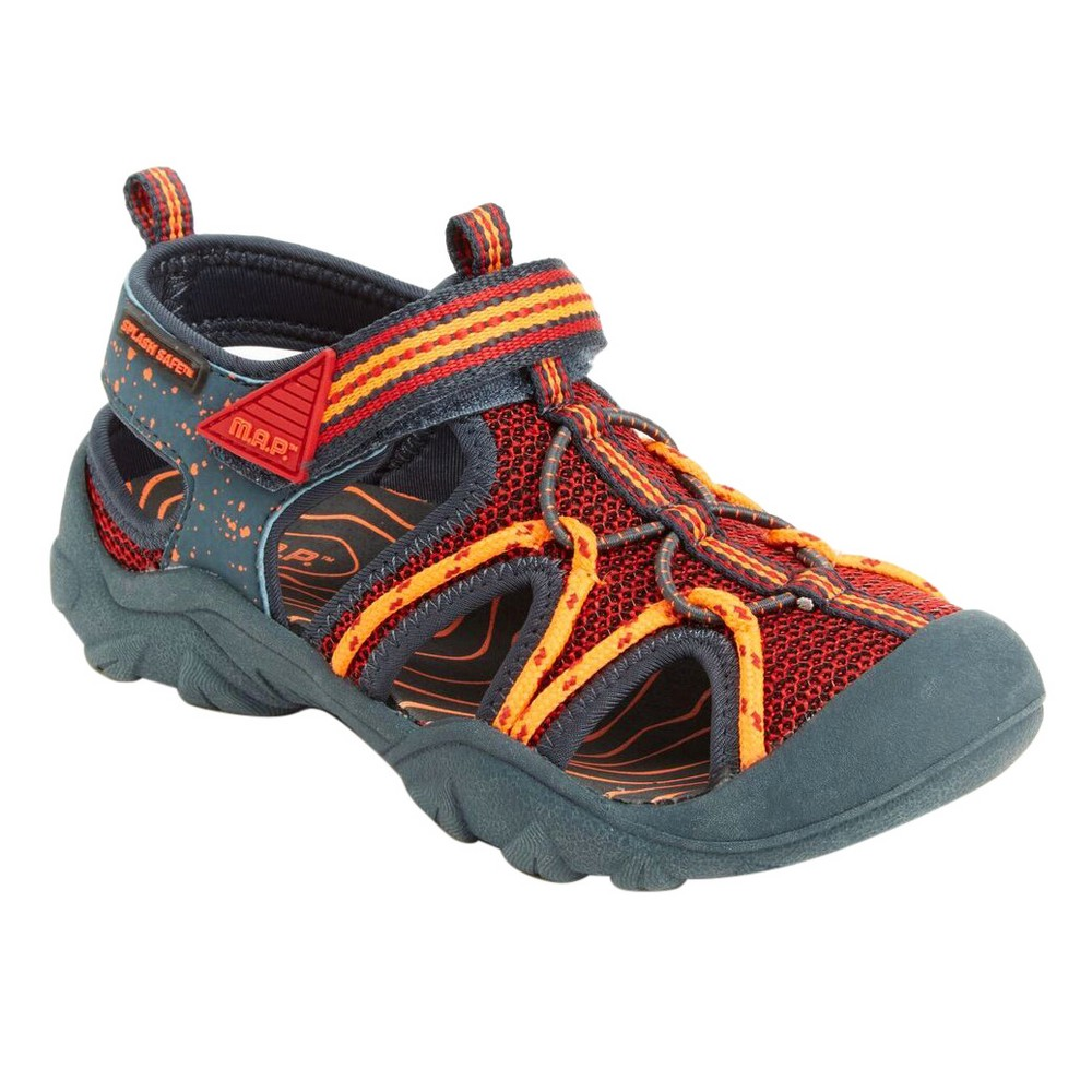 M.A.P. Boys' Emmons Camping Fisherman Sandals - Charcoal/Red 1, Charcoal Red