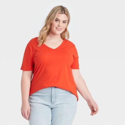 Women's Plus Size Short Sleeve V-Neck T-Shirt - Ava & Viv™