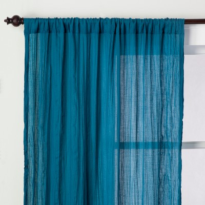Crushed Sheer Curtain Panel Teal Blue 84  - Opalhouse™