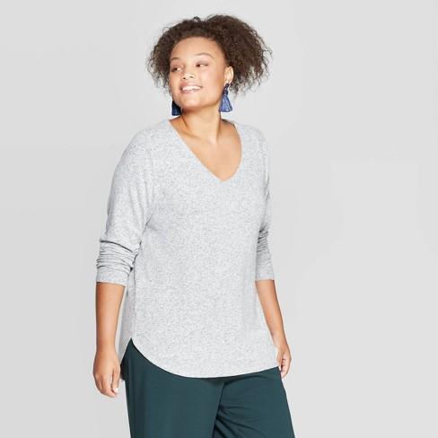 Women's Plus Size Long Sleeve V-Neck Cozy Top - Ava & Viv™ - image 1 of 2