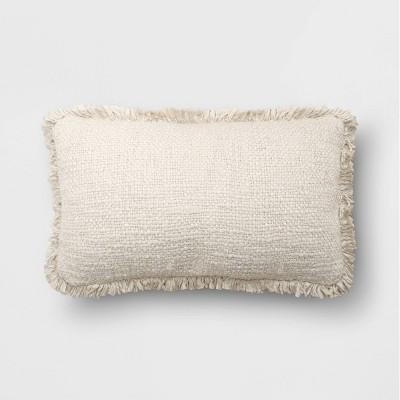 "14""x24"" Oversize Lumbar Throw Pillow with Fringe Cream - Threshold™"