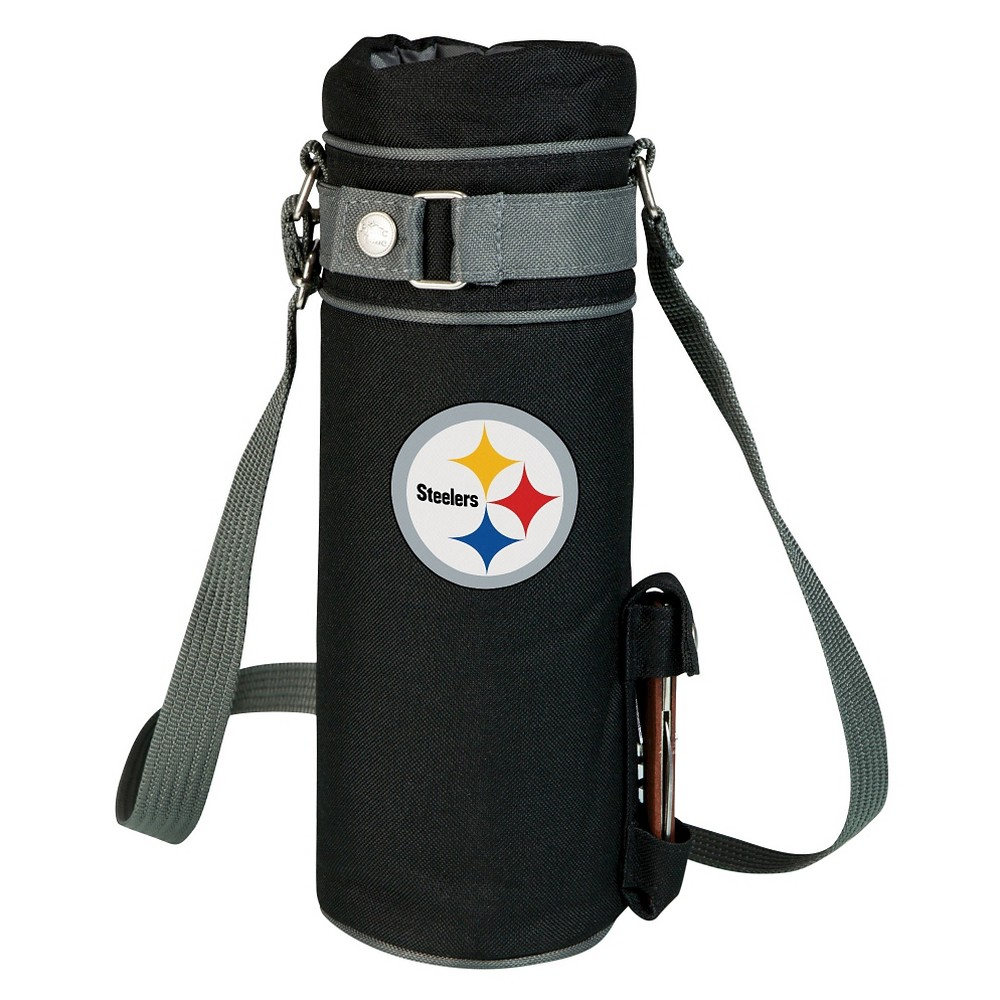 Pittsburgh Steelers - Wine Sack Beverage Tote by Picnic Time (Black) Those who enjoy wine will appreciate the style and simplicity of the Wine Sack, an insulated single-bottle tote with an adjustable shoulder strap. It features a stainless steel waiter-style corkscrew conveniently stored in its own secure pocket. The Wine Sack is made of polyester canvas with complementing brown trim. The tote is fully-insulated to keep your wine at the perfect temperature until you're ready to uncork it. Perfect for any occasion. When you'd like to bring your own wine to share, let the Wine Sack help you take it there! Color: Pittsburgh Steelers.