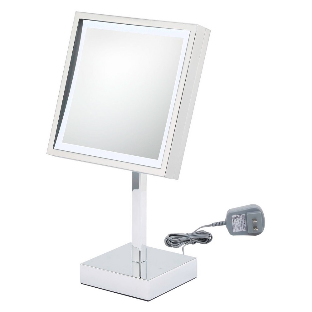 Square Single Sided Led Standing 3x Magnified Makeup Bathroom Mirror Silver - Kimball & Young