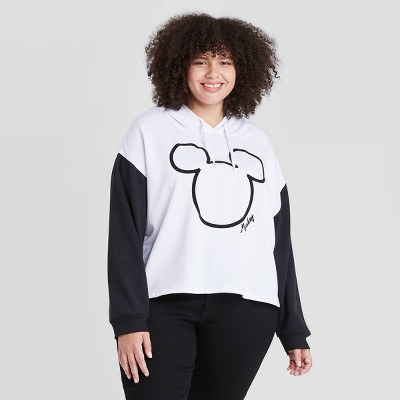 Women's Disney Mickey Outlined Hooded Graphic Sweatshirt - White