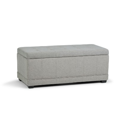 Pleasant Norwood Storage Ottoman Cloud Gray Linen Look Fabric Wyndenhall Alphanode Cool Chair Designs And Ideas Alphanodeonline